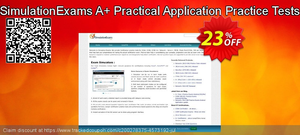 Get 20% OFF SimulationExams A+ Practical Application Practice Tests offering discount