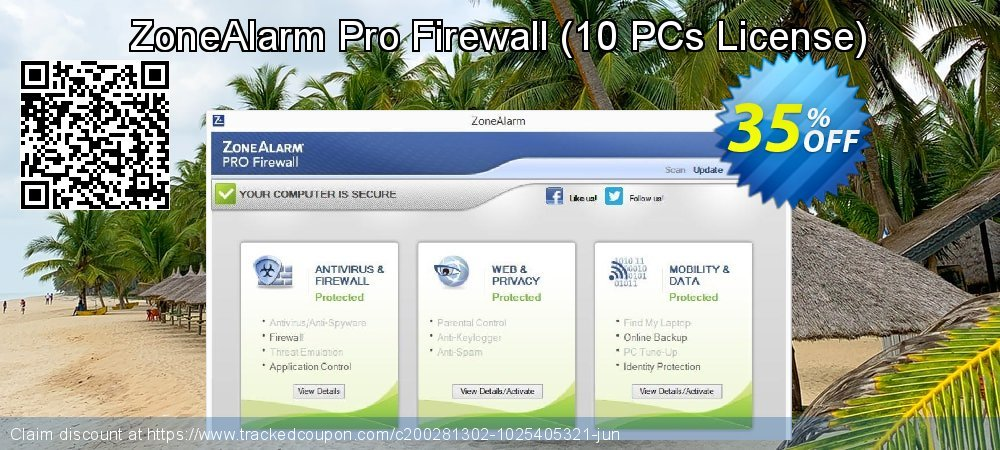 ZoneAlarm Pro Firewall - 10 PCs License  coupon on New Year's Day offering discount