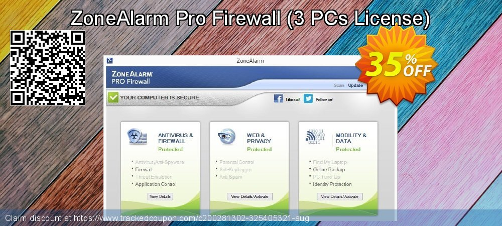ZoneAlarm Pro Firewall - 3 PCs License  coupon on New Year's Day super sale