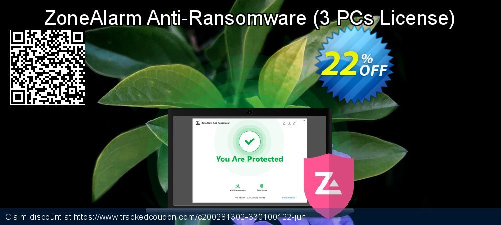 ZoneAlarm Anti-Ransomware - 3 PCs License  coupon on Happy New Year offer