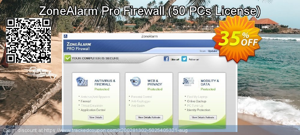 ZoneAlarm Pro Firewall - 50 PCs License  coupon on New Year's Day promotions