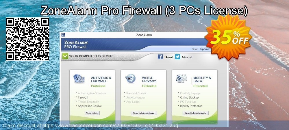 ZoneAlarm Pro Firewall - 3 PCs License  coupon on New Year's Day promotions