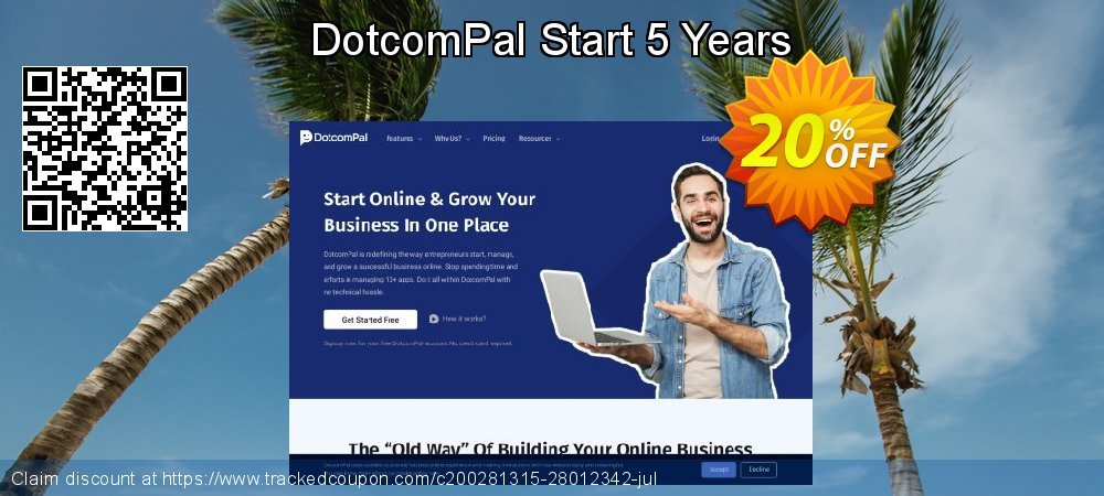 DotcomPal Start 5 Years coupon on End of Year sales