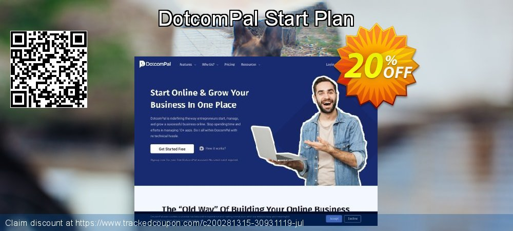 DotcomPal Start Plan coupon on Black Friday offering discount
