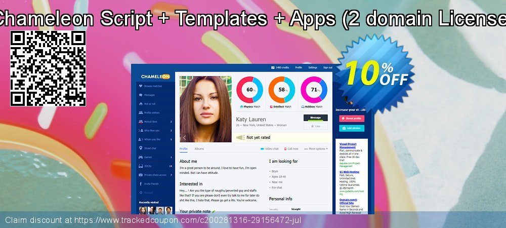 Chameleon Script + Templates + Apps - 2 domain License  coupon on Thanksgiving offering sales