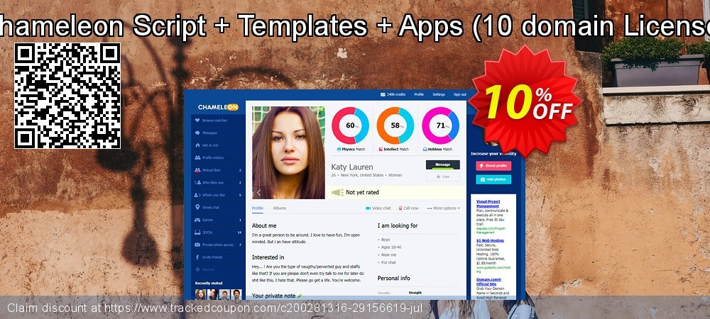 Chameleon Script + Templates + Apps - 10 domain License  coupon on Black Friday promotions