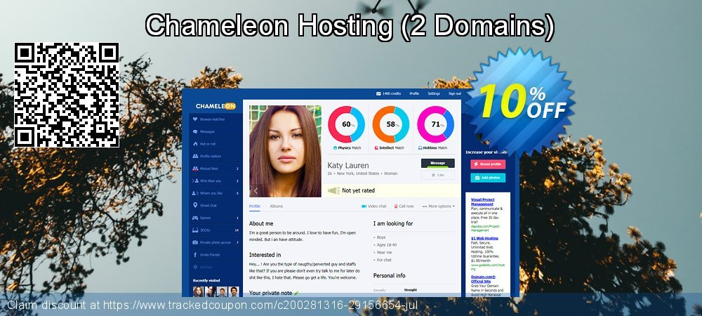 Chameleon Hosting - 2 Domains  coupon on New Year's Day promotions