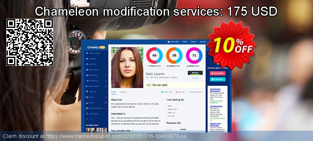 Chameleon modification services: 175 USD coupon on End year discounts