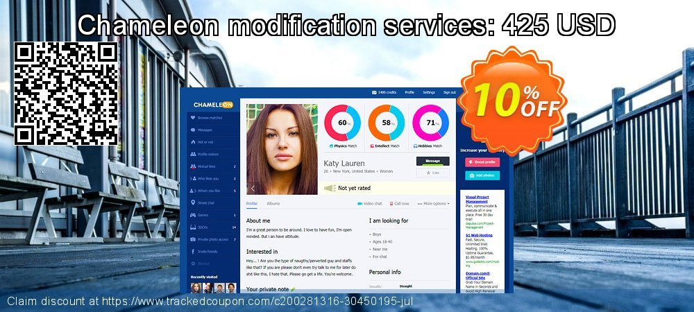 Chameleon modification services: 425 USD coupon on Talk Like a Pirate Day discount