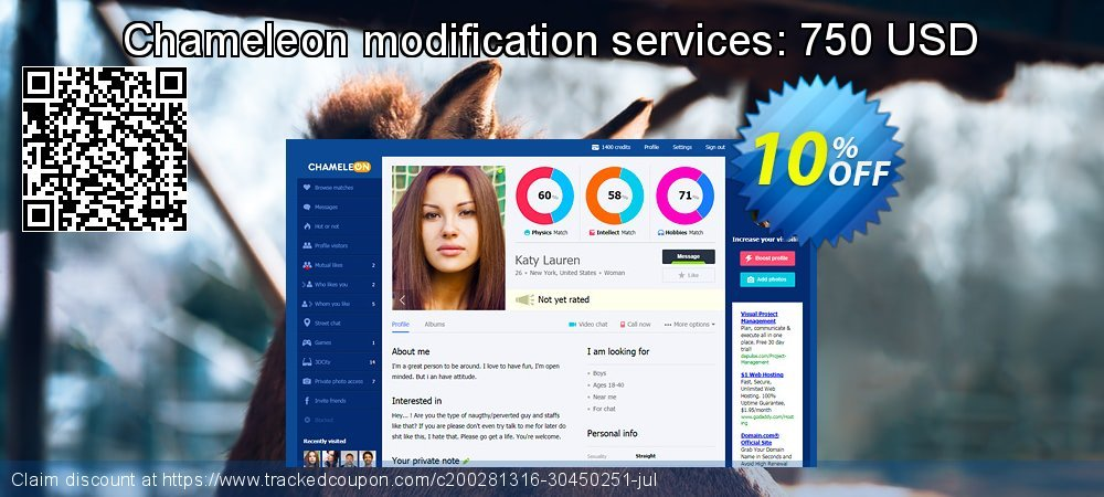 Chameleon modification services: 750 USD coupon on Black Friday discounts