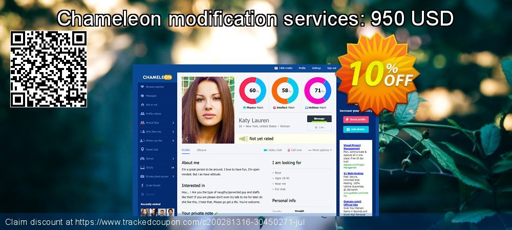 Chameleon modification services: 950 USD coupon on End of Year deals