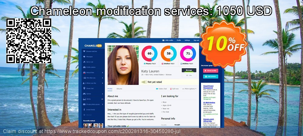 Chameleon modification services: 1050 USD coupon on Thanksgiving sales