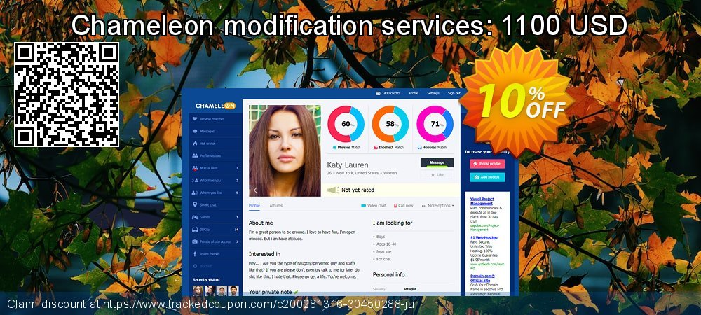 Chameleon modification services: 1100 USD coupon on Camera Day discount