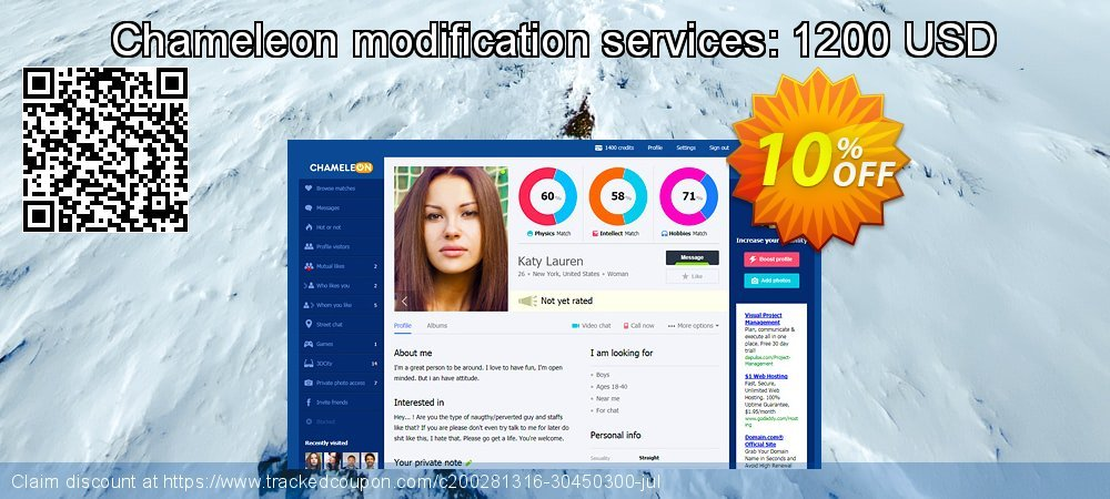 Chameleon modification services: 1200 USD coupon on Thanksgiving offer