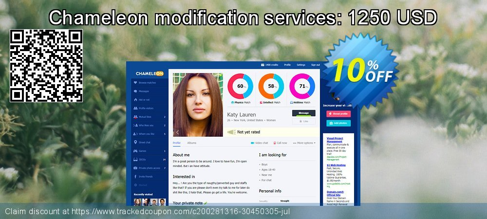 Chameleon modification services: 1250 USD coupon on Black Friday discounts