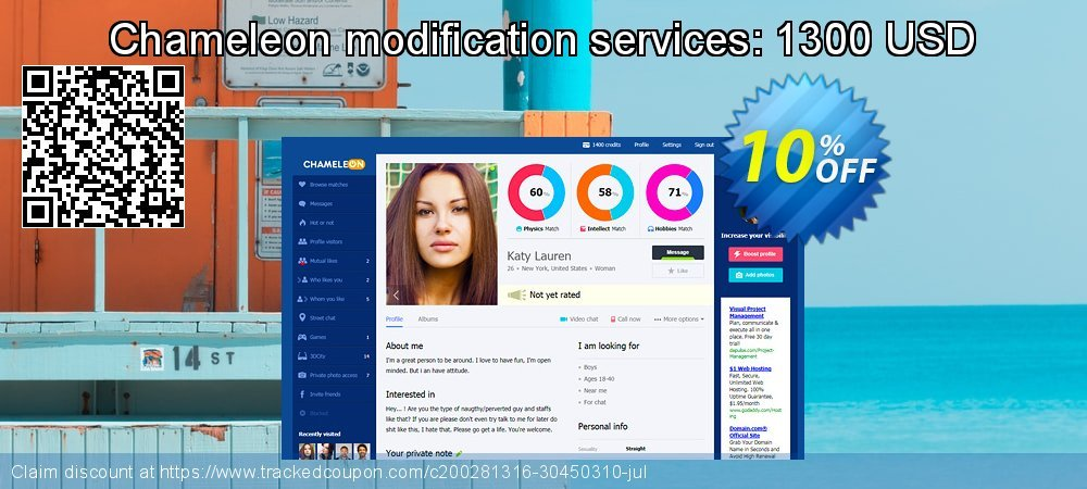 Chameleon modification services: 1300 USD coupon on World Oceans Day discounts