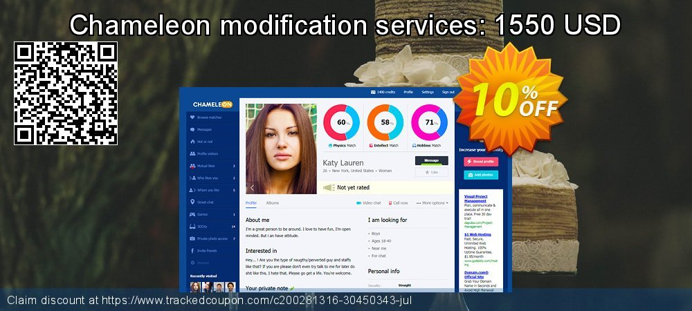 Chameleon modification services: 1550 USD coupon on Black Friday sales