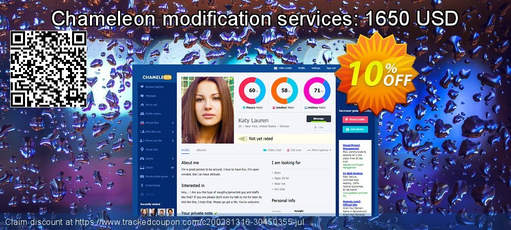 Chameleon modification services: 1650 USD coupon on Xmas Day offering discount