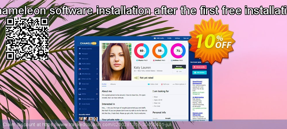 Chameleon software installation after the first free installation coupon on Black Friday offering discount