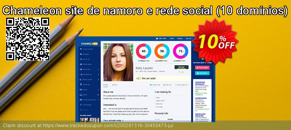 Chameleon site de namoro e rede social - 10 domínios  coupon on Christmas & New Year offering sales