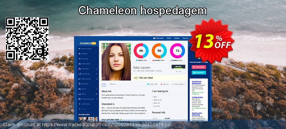 Chameleon hospedagem coupon on New Year's Day super sale