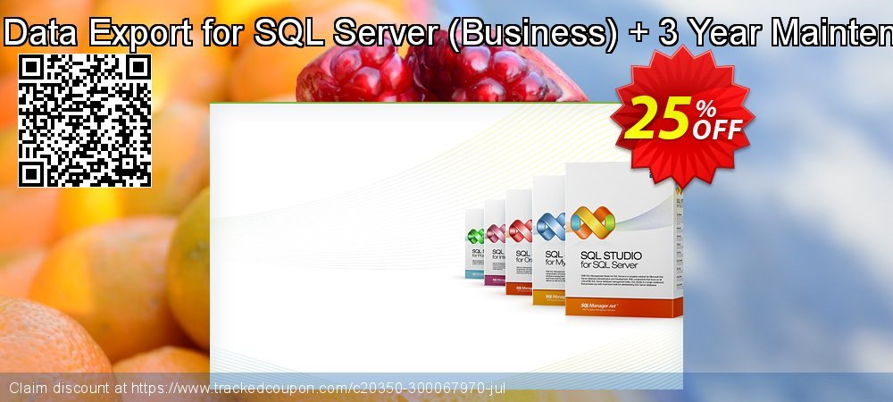EMS Data Export for SQL Server - Business + 3 Year Maintenance coupon on Back to School promotion offering discount