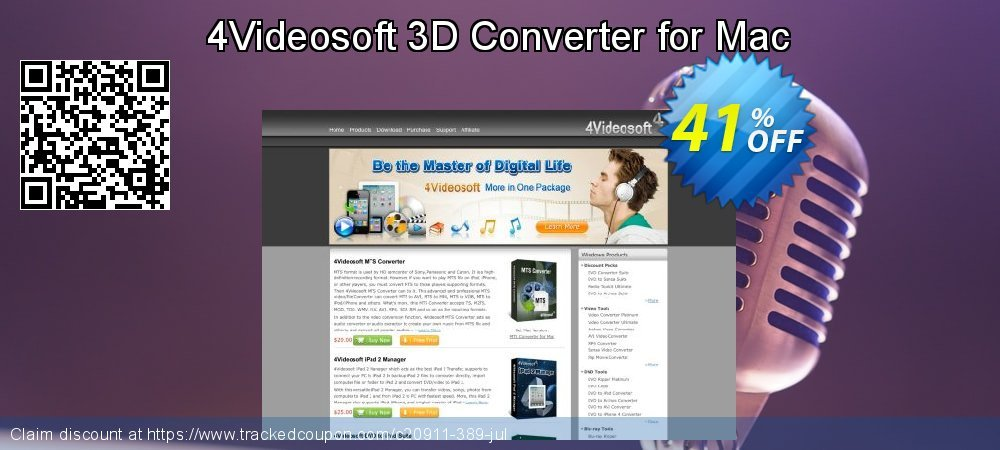 4Videosoft 3D Converter for Mac coupon on New Year's Day offering sales