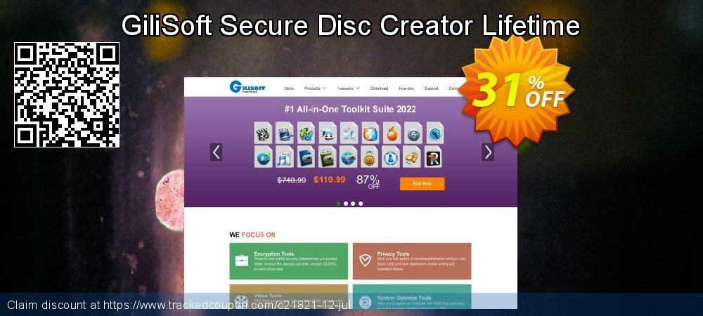 Get 40% OFF GiliSoft Secure Disc Creator Lifetime offering discount