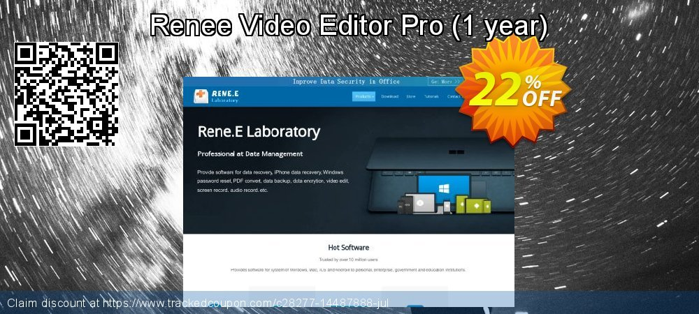 Renee Video Editor Pro - 1 year  coupon on Teacher deals sales