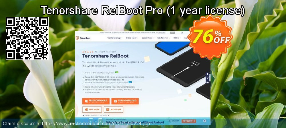 Claim 76% OFF Tenorshare ReiBoot Pro - 1 year license Coupon discount October, 2020