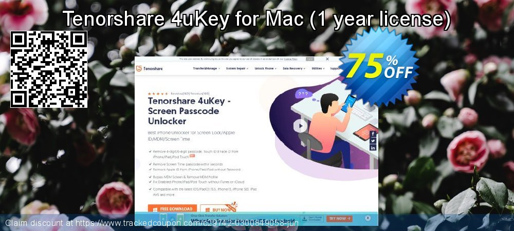 Tenorshare 4uKey for Mac - 1 year license  coupon on All Saints' Eve super sale