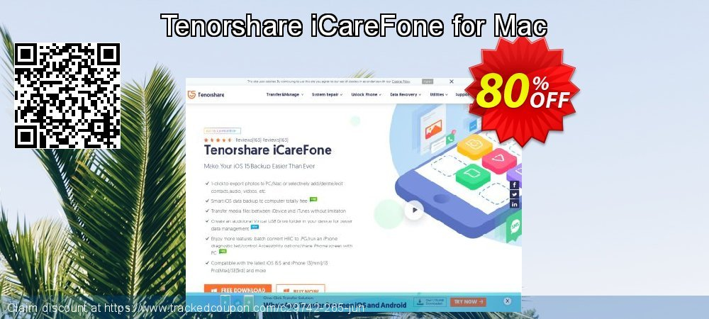 Tenorshare iCareFone for Mac coupon on Exclusive Student deals promotions