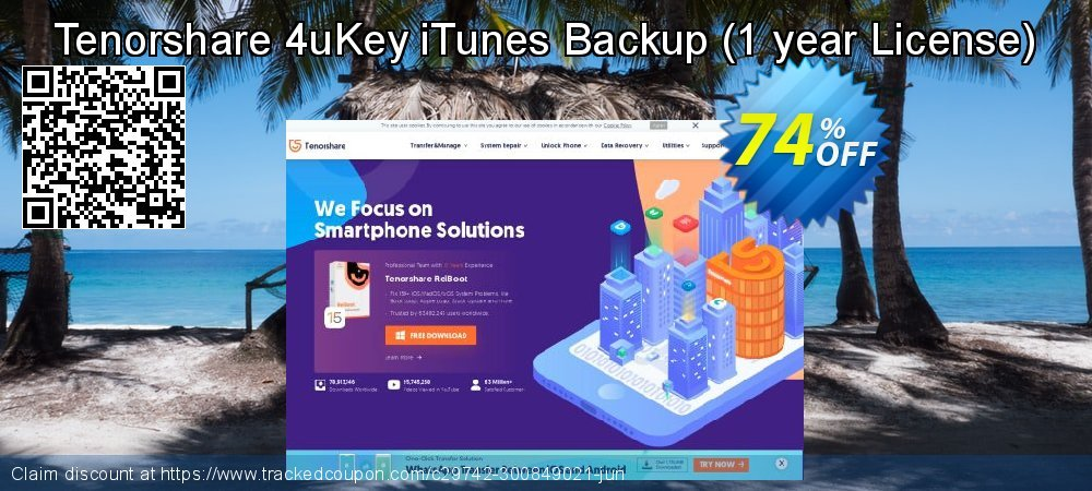 Claim 74% OFF Tenorshare 4uKey iTunes Backup - 1 year License Coupon discount May, 2021