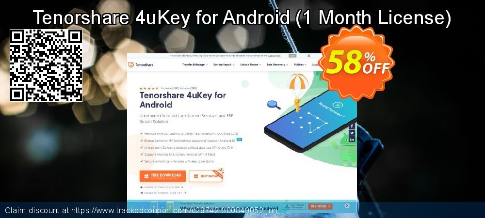 Tenorshare 4uKey for Android - 1 Month License  coupon on Back to School shopping promotions