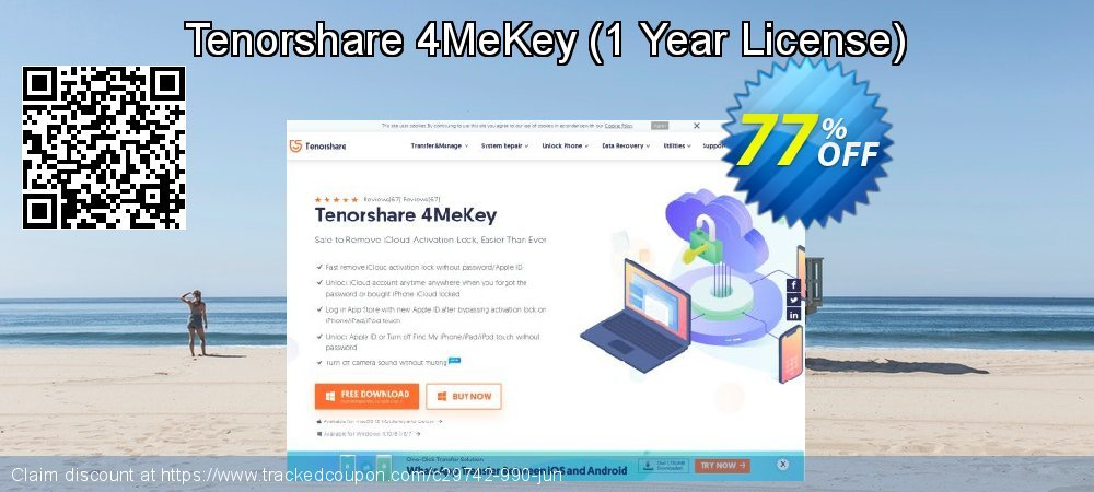 Tenorshare 4MeKey - 1 Year License  coupon on All Saints' Eve offering sales