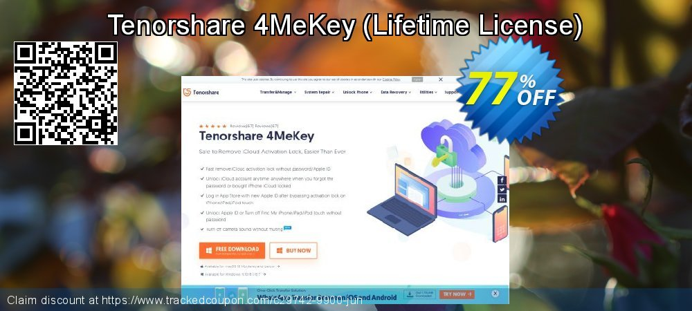 Tenorshare 4MeKey - Lifetime License  coupon on National Noodle Day offering sales