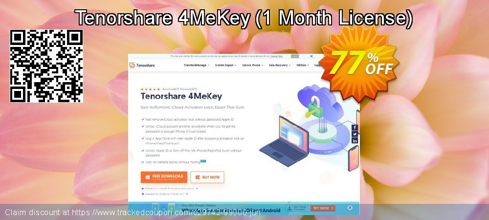 Tenorshare 4MeKey - 1 Month License  coupon on All Saints' Eve offering sales