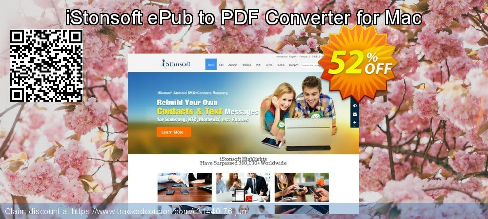 Get 60% OFF iStonsoft ePub to PDF Converter for Mac promotions