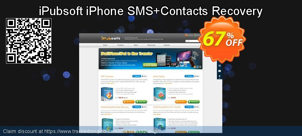 Claim 67% OFF iPubsoft iPhone SMS+Contacts Recovery Coupon discount August, 2020