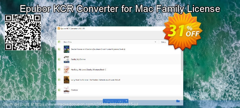 Epubor KCR Converter for Mac Family License coupon on Back to School promotions offering discount