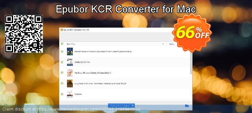 Epubor KCR Converter for Mac coupon on Back to School offer offering discount