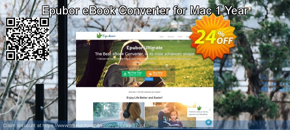 Epubor eBook Converter for Mac 1 Year coupon on May Day super sale