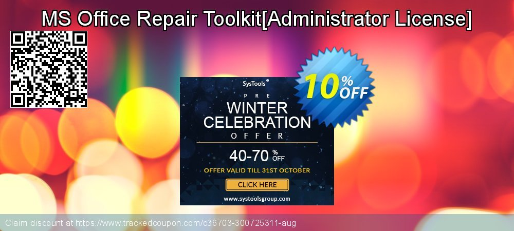 MS Office Repair Toolkit[Administrator License] coupon on Halloween offering discount