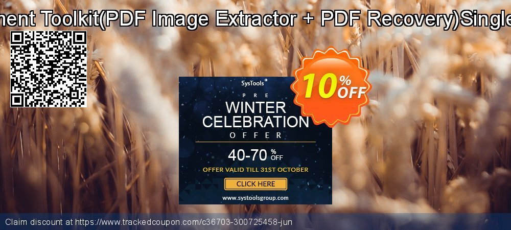PDF Management Toolkit - PDF Image Extractor + PDF Recovery Single User License coupon on Back to School offer super sale