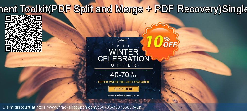 PDF Management Toolkit - PDF Split and Merge + PDF Recovery Single User License coupon on Halloween sales