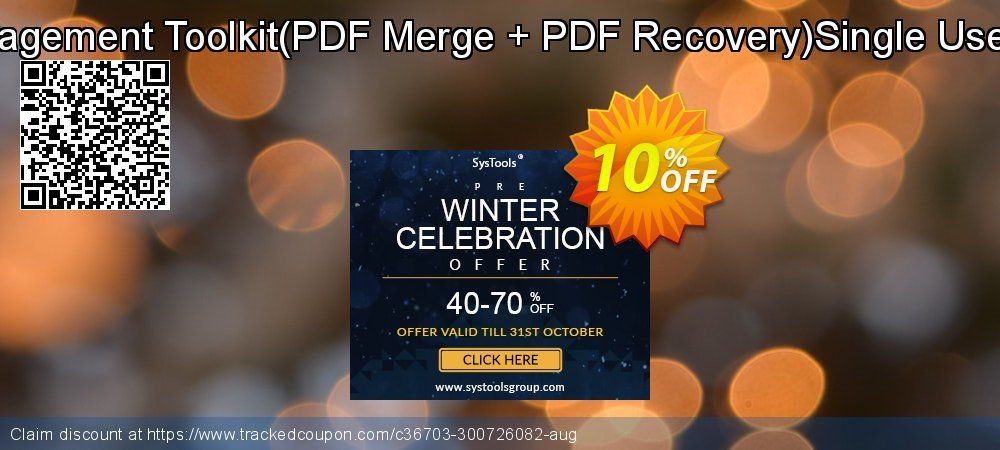 Get 10% OFF PDF Management Toolkit(PDF Merge + PDF Recovery)Single User License discounts