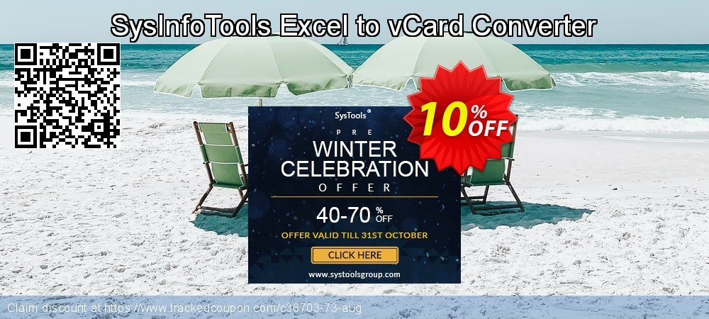 Get 10% OFF SysInfoTools Excel to vCard Converter offering sales