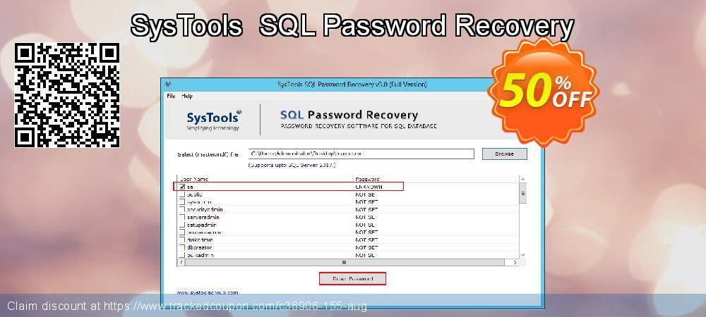 Claim 20% OFF SysTools SQL Password Recovery Coupon discount August, 2019