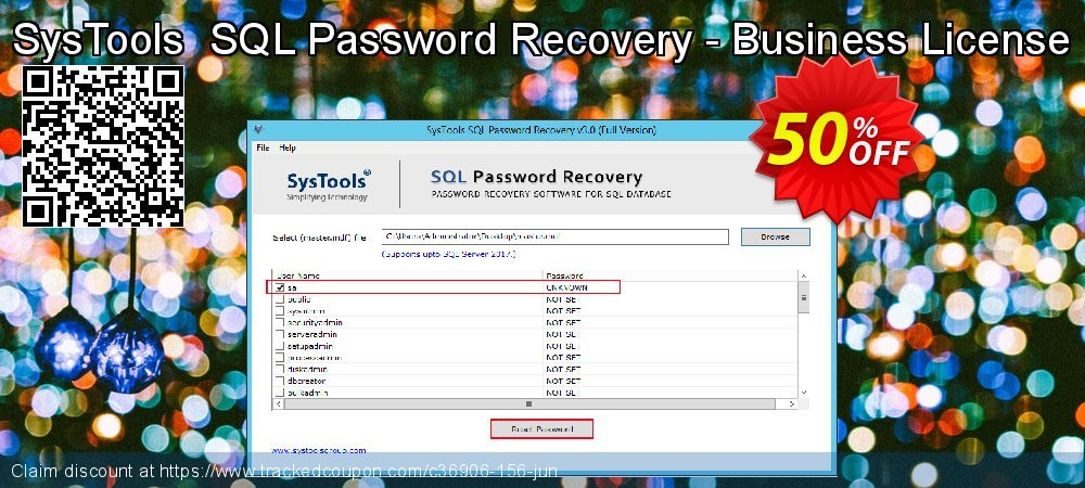 Claim 50% OFF SysTools SQL Password Recovery - Business License Coupon discount May, 2020