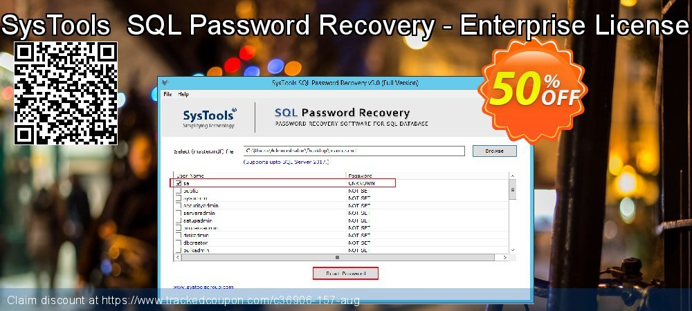 Claim 50% OFF SysTools SQL Password Recovery - Enterprise License Coupon discount May, 2020